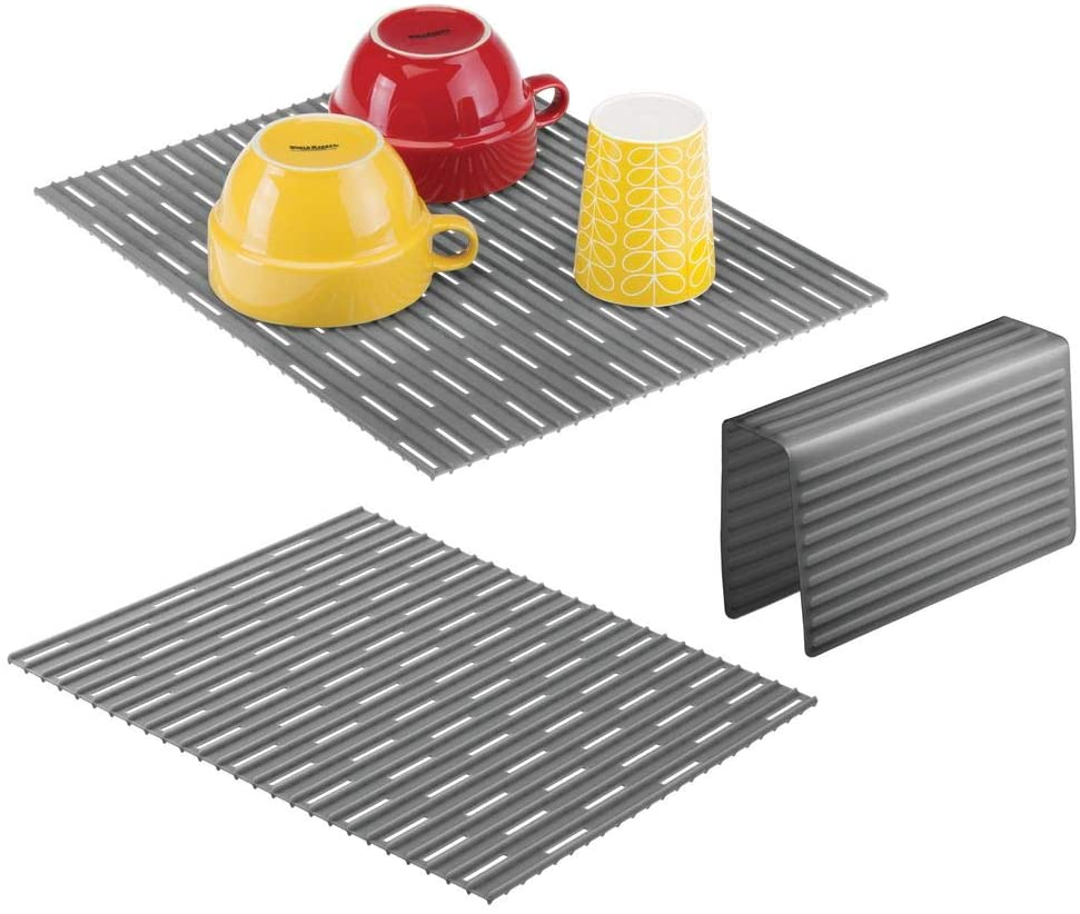 mDesign Large Kitchen Sink Protector Mat