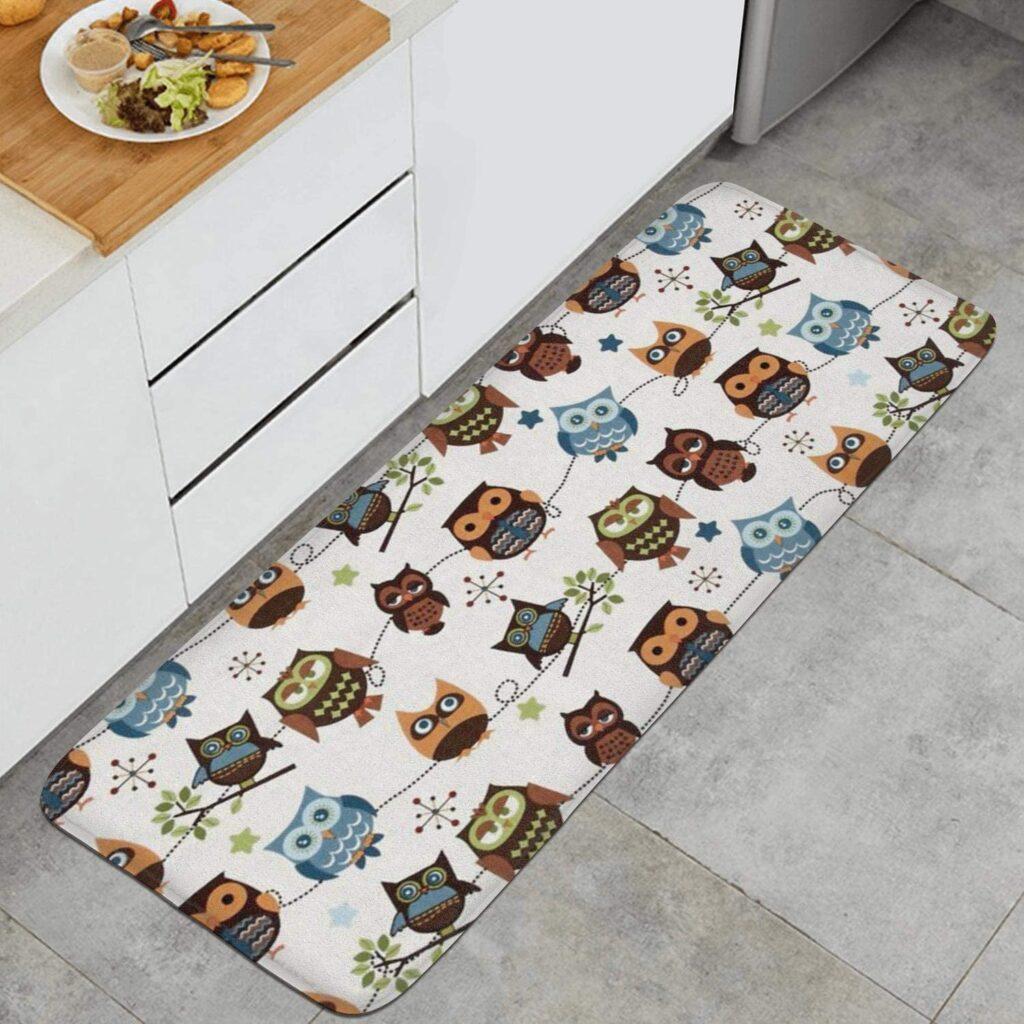 Owl Hoot Roll Call Cream Kitchen Mat